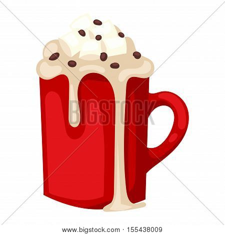 Hot chocolate in red cup christmas, warm, morning drink isolated on white. Sweet beverage hot cacao drink cup. Hot breakfast mug cafe cacao drink cup milk delicious liquid.