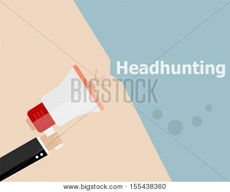 Flat Design Business Concept. Headhunting. Digital Marketing Business Man Holding Megaphone For Webs