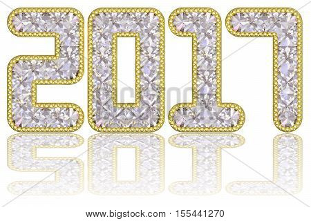 2017 digits composed of gems in golden rim on glossy white background. High resolution 3D image