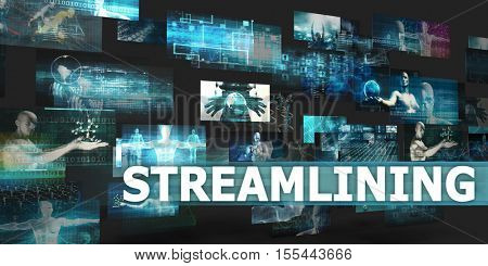 Streamlining Presentation Background with Technology Abstract Art 3d Illustration Render