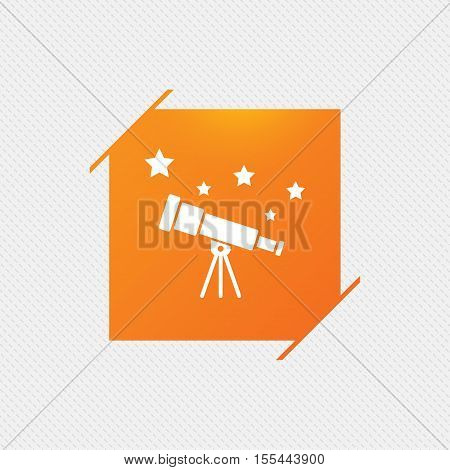 Telescope with stars icon. Spyglass tool symbol. Orange square label on pattern. Vector