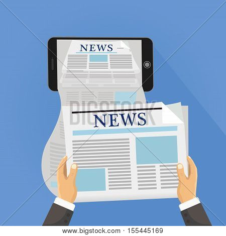 Human hand holds smartphone and reading daily newspaper. Online reading news. Ilustration concept of online reading news using smartphone app.