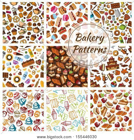 Bakery bread, pastry, patisserie sweets patterns. Vector seamless pattern of bread and desserts. Wheat bread loaf, rye bagel, cake, cupcake, muffin, buns, croissants. Bakery shop decoration background