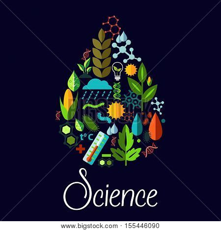 Science vector emblem in shape of water drop. Pattern of nature plants, trees, natural life sources, phenomena, generic vegetation symbols. Vector flat icons design in science symbol