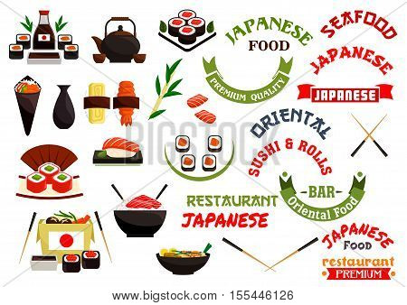 Japanese cuisine vector labels, ribbons for oriental seafood restaurant, sushi bar menu card sticker, sign board emblem. Vector isolated sushi, steamed rice in bowl, japanese seafood wok, salmon fish rolls, wasabi, chopsticks
