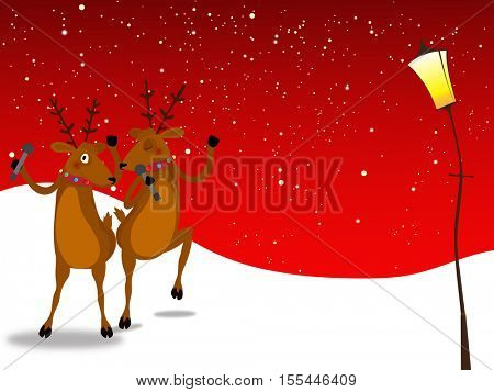 Cute reindeer singing and dancing on winter background for Merry Christmas celebration concept.