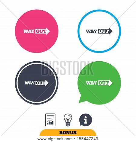 Way out right sign icon. Arrow symbol. Report document, information sign and light bulb icons. Vector