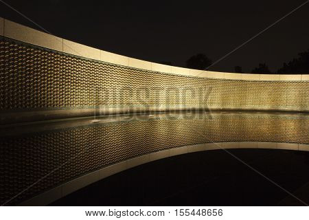Night shot of the Stars of Freedom wall at the World War II Memorial in Washington DC