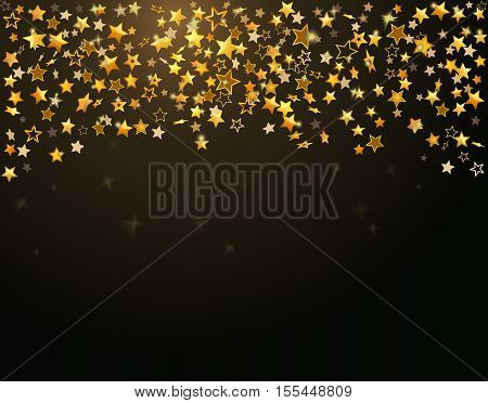 Gold stars Holiday background, Falling golden shining star on dark background. Vector