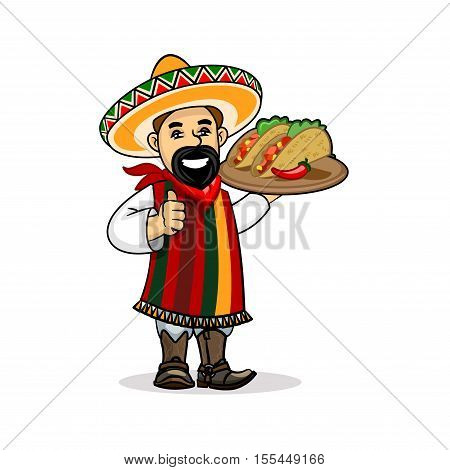 Mexican cuisine icon. Smiling latino chef cook in national clothing poncho, sombrero, mustache holding menu card template and spicy tacos on plate. Vector emblem for restaurant signboard, menu, welcome decoration