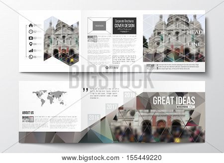 Vector set of tri-fold brochures, square design templates with element of world map. Polygonal background, blurred image, view of cathedral Sakre-Ker, Paris cityscape, modern triangular vector texture