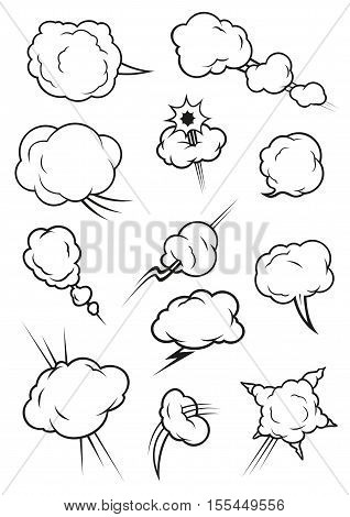 Cartoon cloud icons in comic book style. Isolated cumulus outline clouds. Vector elements of smoke puff, steam vapor, fume clap, explosion pierce, thunderbolt burst, sharp bang