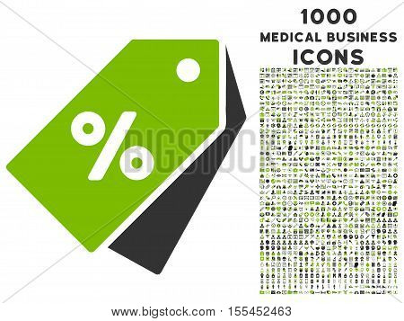 Percent Discount Tags vector bicolor icon with 1000 medical business icons. Set style is flat pictograms, eco green and gray colors, white background.