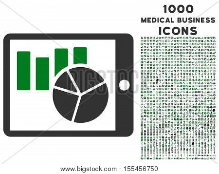 Charts on Pda vector bicolor icon with 1000 medical business icons. Set style is flat pictograms, green and gray colors, white background.