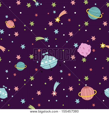 Deep space cartoon seamless pattern. Aliens spaceship, colorful stars, shining comets, moon, saturn planet vector illustration on violet background. For wrapper, greeting cards, invitations design