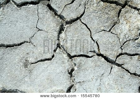 close up on dry cracked land