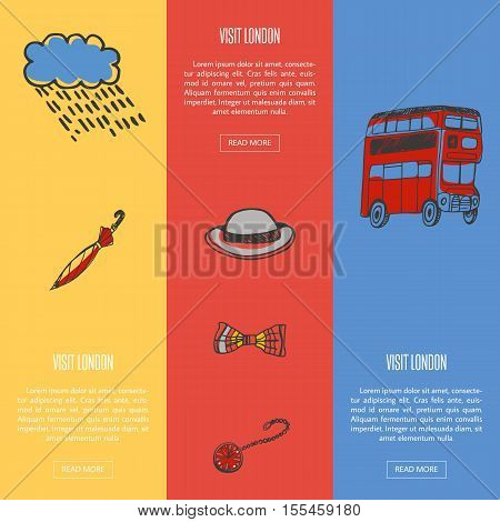 Visit London banners. Rain cloud and umbrella, bowler hat, bow tie, pocket watch, double-decker bus hand drawn vector illustrations on colored backgrounds. For travel company landing page design