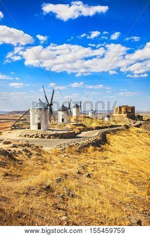 Cervantes Don Quixote windmills and Consuegra castle. Castile La Mancha Spain Europe