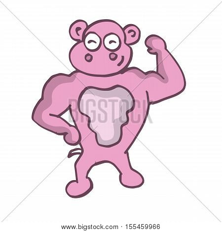 Strong pig funny cartoon vector collection stock
