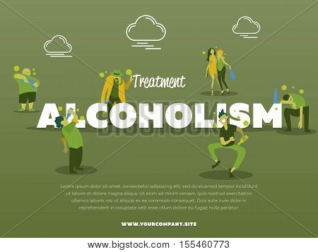 Treatment alcoholism banner with drunk alcoholic vector illustration. Alcohol abuse, alcoholism in family, man and woman with alcohol bottle concept. Addict people with alcohol problems.