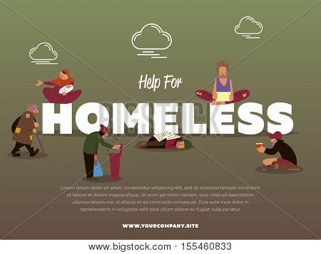 Help for homeless banner with hungry beggar holding message banner and begs for money vector illustration. Homeless skinny saggy man in dirty old clothes character. Pauper and bum man.