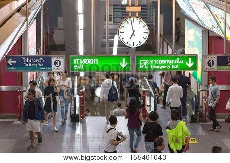 BANGKOK, THAILAND, SEPTEMBER 23, 2016 : Passengers are transiting in the skytrain hall in Bangkok, Thailand