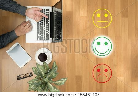 Business Man Select Happy :) :l :( Business Man Select Happy On Satisfaction Evaluation? And Good Mo