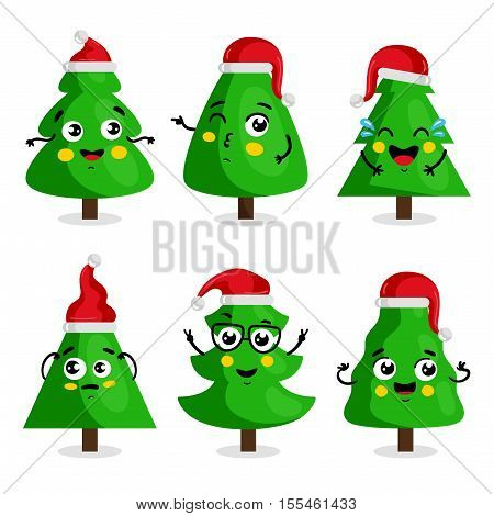 Funny Christmas tree cartoon characters in red hat vector illustration in cartoon. Christmas tree happy, laughing, christmas tree thinking, christmas tree experiences, christmas tree dreams. Christmas tree icon. Christmas tree cartoon sign. Christmas tree