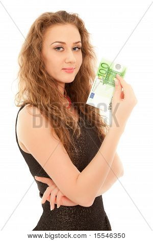 Woman With Banknote Smiling