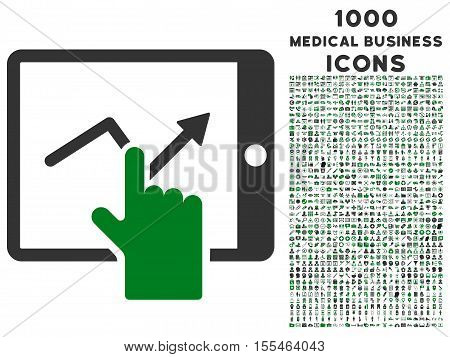 Tap Trend on Pda vector bicolor icon with 1000 medical business icons. Set style is flat pictograms, green and gray colors, white background.