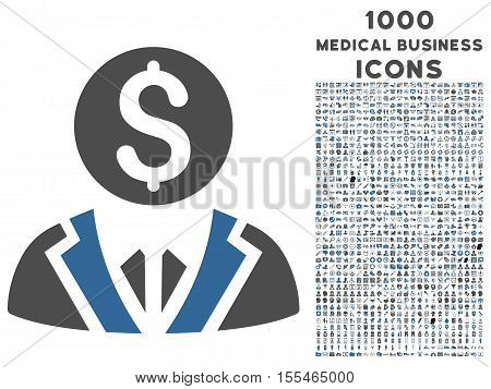 Banker vector bicolor icon with 1000 medical business icons. Set style is flat pictograms, cobalt and gray colors, white background.