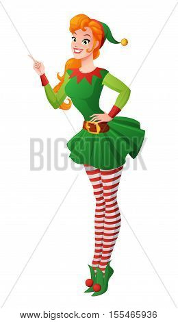 Pretty redhead pinup girl in green Christmas elf costume finger pointing up. Cartoon style vector illustration isolated on white background.