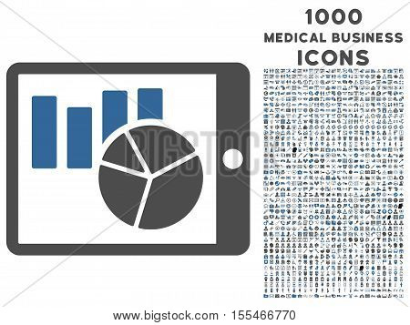 Charts on Pda vector bicolor icon with 1000 medical business icons. Set style is flat pictograms, cobalt and gray colors, white background.