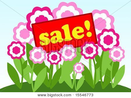 sale card on background of flowers