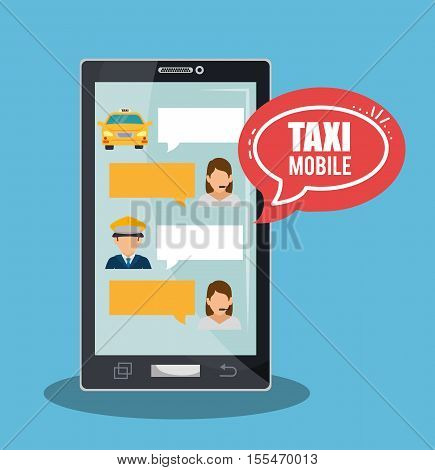 taxi service call center driver bubble speech smartphone vector illustration eps 10