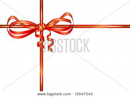 red gold bow present. Vector illustration