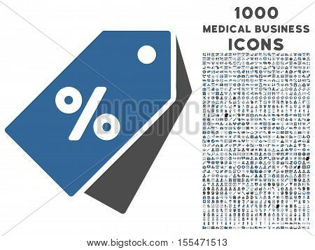 Percent Discount Tags vector bicolor icon with 1000 medical business icons. Set style is flat pictograms, cobalt and gray colors, white background.