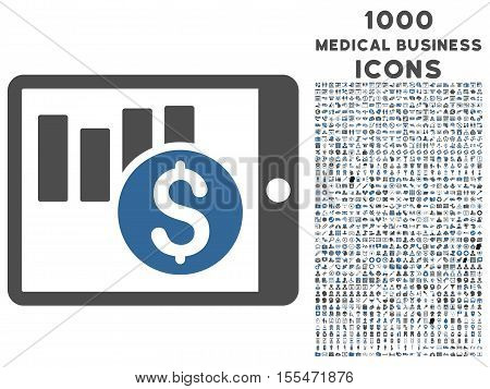 Sales Chart on Pda vector bicolor icon with 1000 medical business icons. Set style is flat pictograms, cobalt and gray colors, white background.
