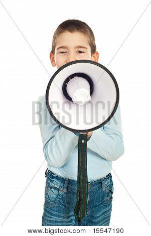 Boy Speaking Through Loudspeaker