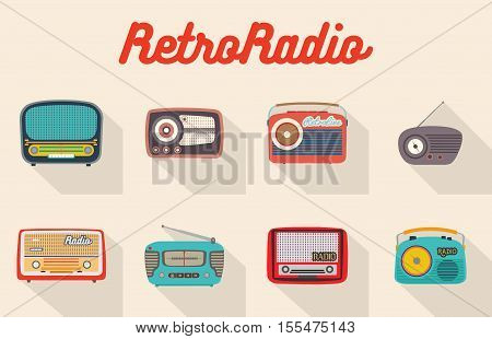 Set of eight colorful isolated retro radios. Big and small vintage looking analog recievers. Flat style vector illustration.