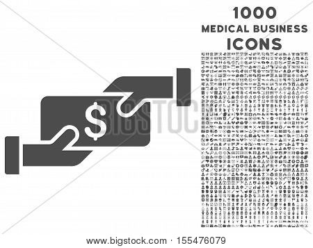 Payment vector icon with 1000 medical business icons. Set style is flat pictograms, gray color, white background.
