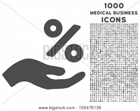 Percent Offer Hand vector icon with 1000 medical business icons. Set style is flat pictograms, gray color, white background.