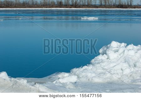 Spring Flooding, Ice Water, Early Spring On The River