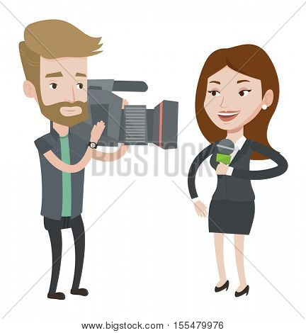 Caucasian female reporter with microphone presenting the news. Hipster operator filming reporter. Reporter and operator recording news. Vector flat design illustration isolated on white background.