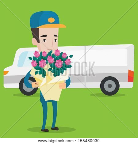 Delivery courier with bouquet of flowers on background of delivery truck. Delivery man holding bouquet of flowers. Young delivery man delivering flowers. Vector flat design illustration. Square layout