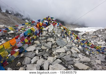 view from Everest base camp with rows of buddhist prayer flags. 2016.