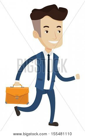 Happy caucasian businessman with briefcase in hand running. Smiling businessman running in a hurry. Cheerful businessman running forward. Vector flat design illustration isolated on white background.