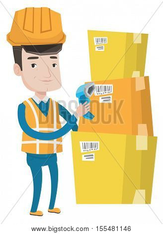 Caucasian warehouse worker scanning barcode on box. Warehouse worker checking barcode of box with a scanner. Warehouse worker at work. Vector flat design illustration isolated on white background.