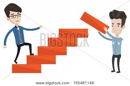 Man runs up the career ladder while another man builds this ladder. Businessman climbing the career ladder. Concept of business career. Vector flat design illustration isolated on white background.