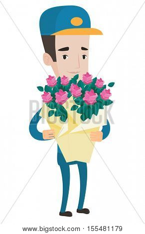 Delivery courier with bouquet of flowers. Delivery man holding bouquet of flowers. Young caucasian delivery man delivering flowers. Vector flat design illustration isolated on white background.